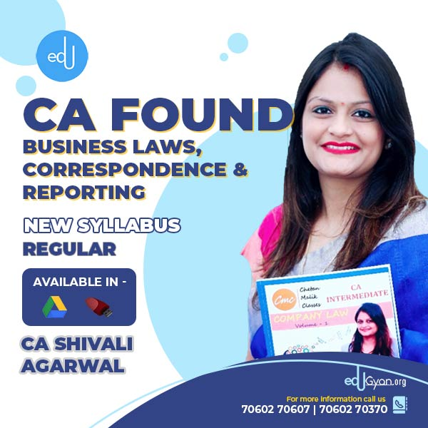 CA Foundation Business Laws & Correspond. By CA Shivali Agarwal