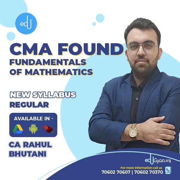 CMA Foundation Fundamentals Of Mathematics By Rahul Bhutani