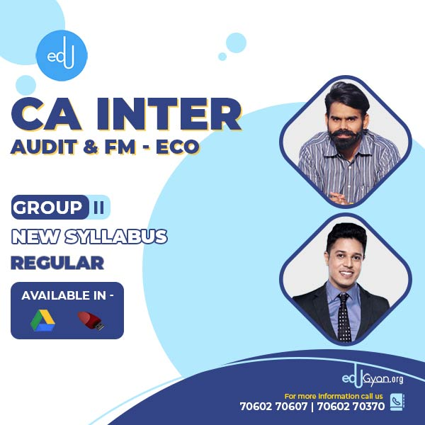 CA Inter Audit & FM-Eco Combo By CA Harshad Jaju & Swapnil Patni