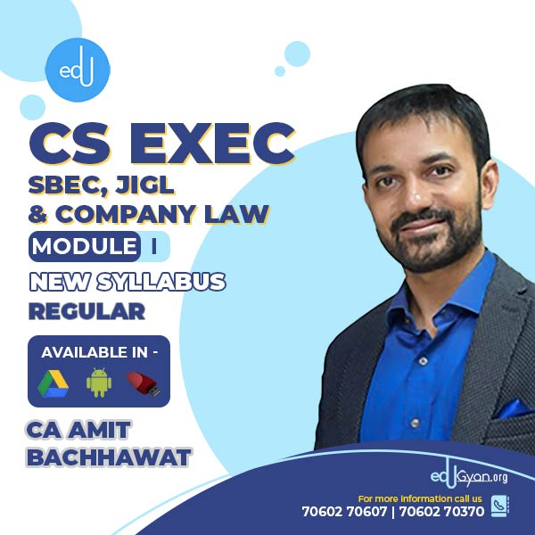 CS Executive SBEC & JIGL & C. Law Combo By CA Amit Bachhawat